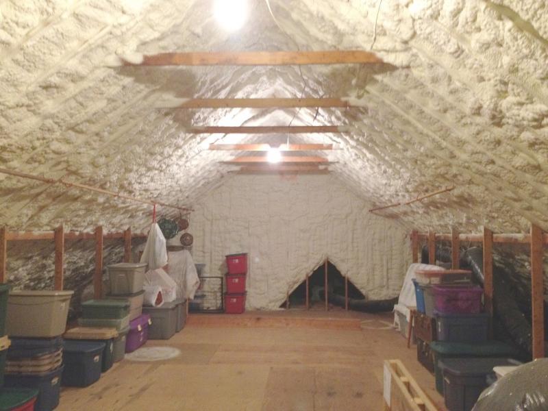 spray foam attic, north carolina, attic storage