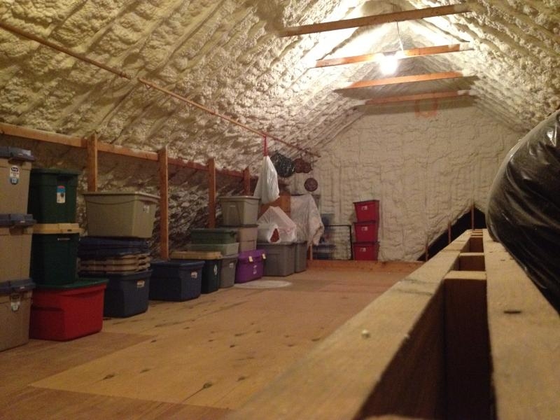 attic flooring and storage organization