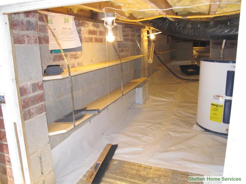 crawlspace shelving for added storage