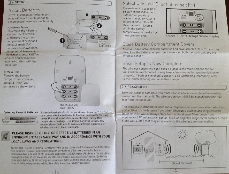 Acurite weather station Instruction Manual