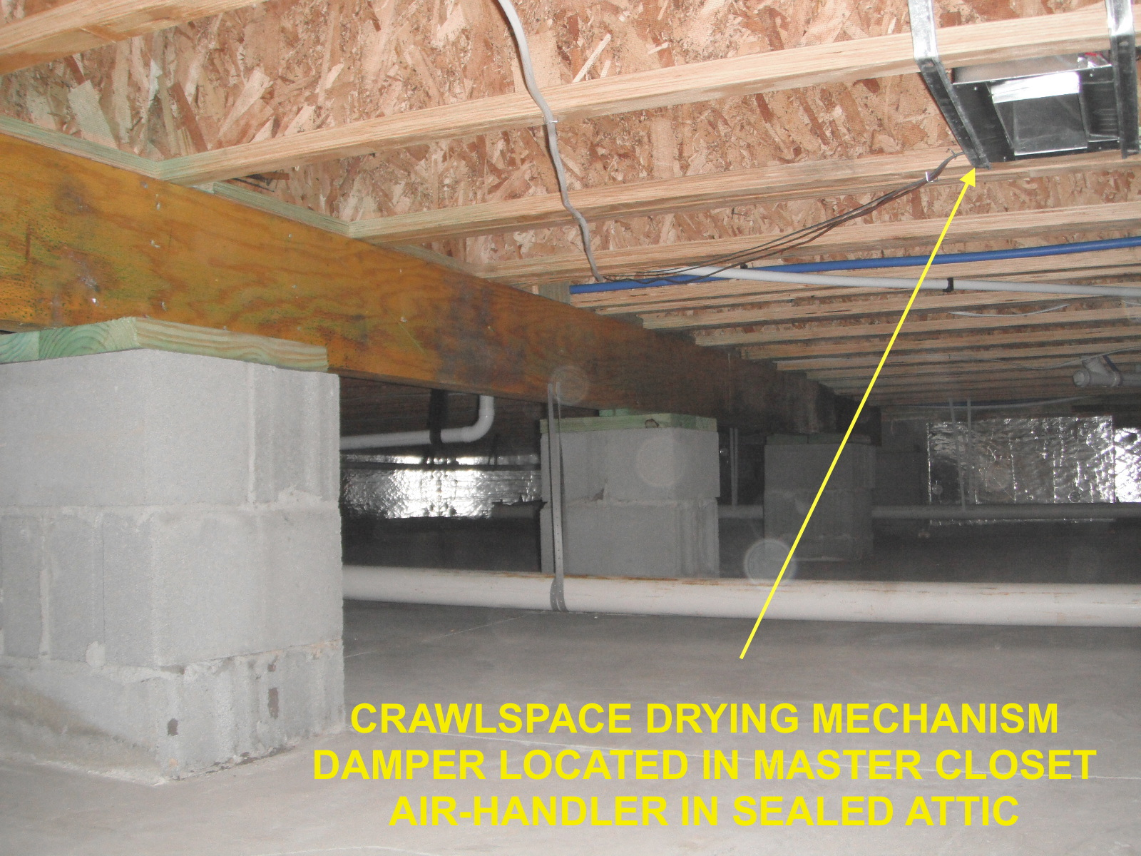 CRAWLSPACE DRYING MECHANISM via attic YellowTXT